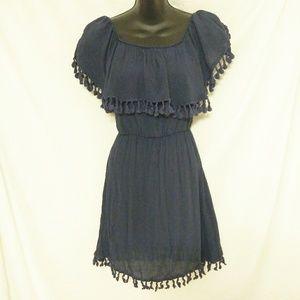 Alya Fringed Navy Dress Size XS